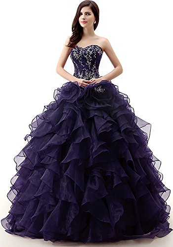 Okaybrial Women's 15 Dresses Quinceanera Dresses Embroidery Beaded Ruffle Organza Ball Gown Dresses Navy Blue