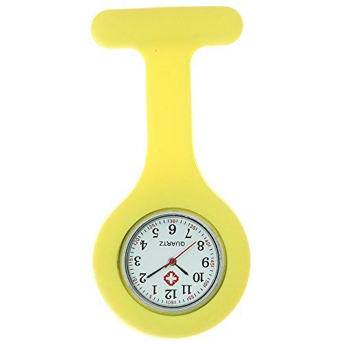 Nurse Watch Fob Silicone Brooch Tunic Medical Nurse Pocket Watch Japan Quartz Movement Brooch Design Pendant - Engraved Yellow Brooch