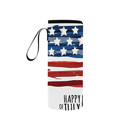 Historic Memorials - C COABALLA 4th of July Decor Simple Neoprene Water Bottle Pouch,Celebrating Background with Charming Stars Memorial Historic Digital Print for Home,5.51
