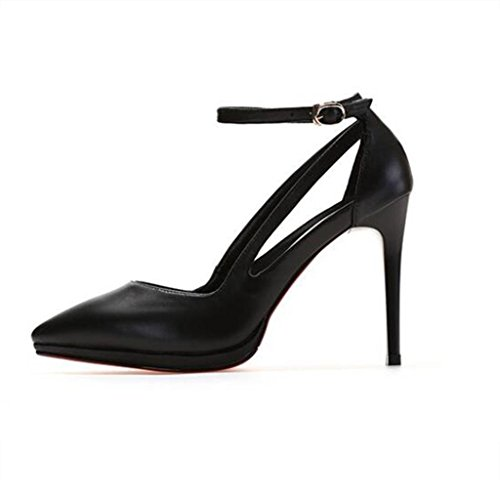 W&LM Zapatos de mujer piel genuina Zapatos individuales Parte inferior del tendón Plataforma a prueba de agua multa Tacones altos Boca rasa los zapatos de cuero Black