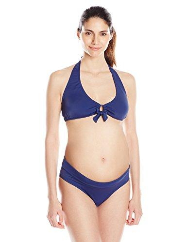 PregO Maternity Women's Maternity Roll Waist Bikini, Navy, Large