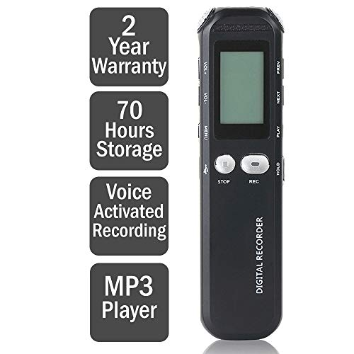 Digital Voice Recorder - 8GB - Voice Activated Recorder - Portable Dictaphone Sound Recorder - Ideal For Lectures, Meetings, Interviews - Mini Audio Recorder - By HORONZO