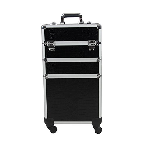 Chichitop Rolling Cosmetic Case Universal Wheel 3 in 1 Professional Multifunction Artist Rolling Trolley Makeup Train Case 4-wheel Cosmetic Box Wheeled Makeup Box Cosmetic Organizer by Chichitop