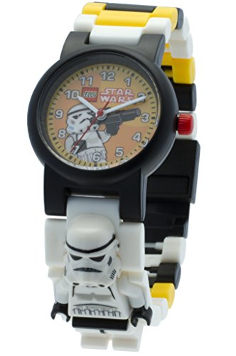 Lego Star Wars 8020424 Stormtrooper Minifigure Link Watch | Black/White | Plastic | 25mm case Diameter | Analog Quartz | boy Girl | Official (Lego Star Wars 9678)