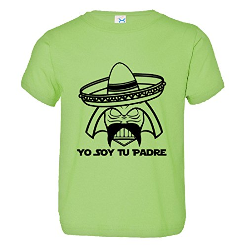 Price comparison product image PleaseMeTees Toddler Soy Tu Padre Father Mexican Sombrero Mustache Tee Lime-4