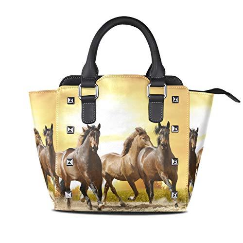imobaby Horses Sunset PU Leather Girls Top-Handle Handbags Single-Shoulder Ladies Tote Crossbody Bag Messenger Bags For Women
