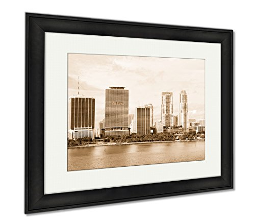 Ashley Framed Prints Miami Seascape With Skyscrapers In Bayside Downtown, Modern Room Accent Piece, Sepia, 34x40 (frame size), Black Frame, - Miami Bayside