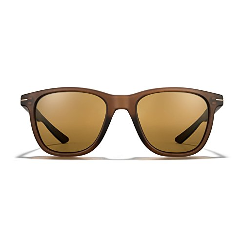 ROKA HALSEY Wayfarer Performance Sunglasses Designed for Sport for Men and Women - Matte Root Beer Frame - Bronze (Polarized) - Womens Roots Glasses