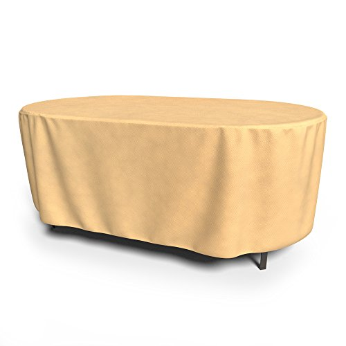 Budge All-Seasons Oval Patio Table Cover, Large (Tan)