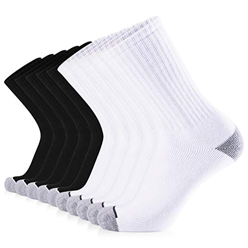 JOURNOW Men's Cotton Moisture Wicking Extra Heavy Cushion Sport Hiking Working Crew Socks 10 Pairs (10-13, Mix)