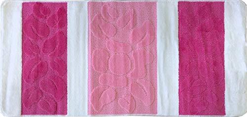ADGO Bath Mats Non-Slip Anti-Skid Soft Bathroom Shower Tub Rug 25X53 inches, Palmira - White Fuchsia Pink -