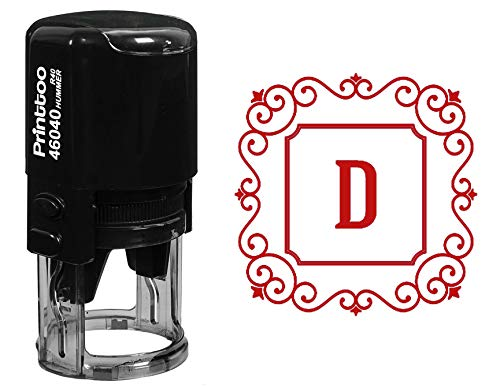 Printtoo Square Swirl Border D Alphabet Monogram Initial R-40 Self Inking Rubber Stamp Office Stationary ()