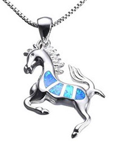 Blue Opal Granite (Fortonatori Created Blue Opal Horse Necklace Smart 925 Silver Pendant Necklace 18