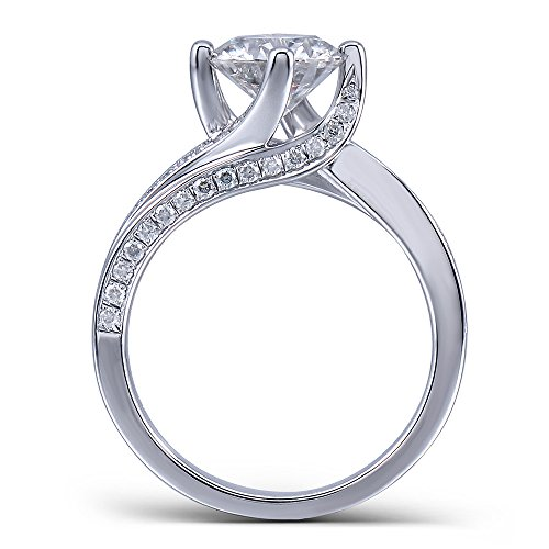 Center 1.5 Carat Color (H) Moissanite Stone Engagement Ring Solitare with Accents Platinum Plated Silver for Women (5.5)