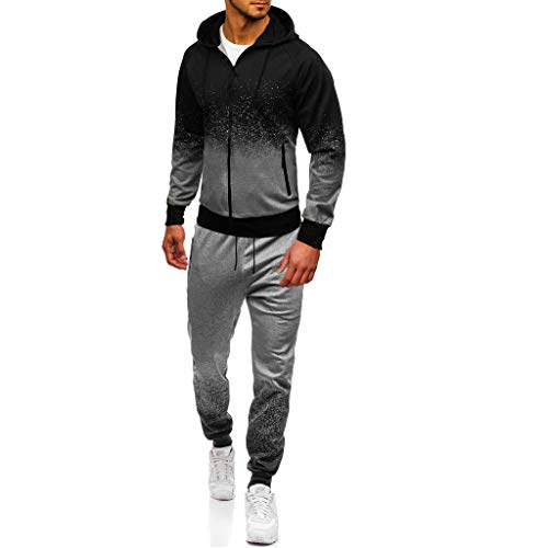 Mens Autumn Winter Packwork Print Sweatshirt Top Pants Sets Sport Suit Tracksuit -