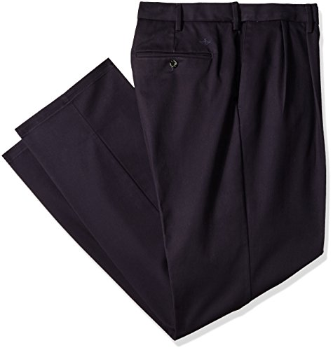 Dockers Men's Big and Tall Signature Khaki Pleated Pant, Navy/Stretch, 56 28 (Pants Blue Stretch)