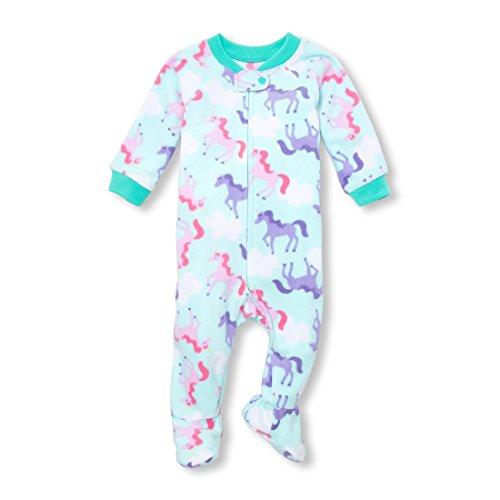 The Children's Place Baby Girls Zip Blanket Sleeper, CRYSTALMNT, 9-12MOS