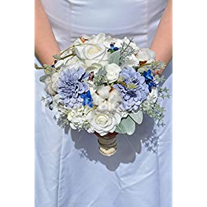 Silk Blooms Ltd Artificial Pale Blue Rose and Real Preserved Cotton Bridal Bouquet w/Anemones and Zinnias 22