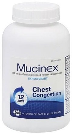 Mucinex 12 Hour Extended Release, 500 Tablets per Bottle