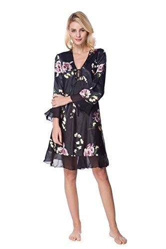 (Lavenderi Women's Sleeveless Nightgown Silky Nightdress Printed Satin Sleepwear(L,Long Black01))