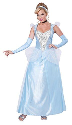 California Costumes Women's Classic Cinderella Fairytale Princess Long Dress Gown, Blue/White, Medium