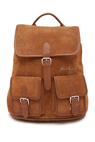 Robert Graham Kormi Suede Leather Drawstring Front Flap Laptop Backpack Sand (Graham Flap)