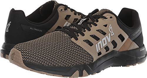 Inov-8 Mens All Train 215 Knit | Lightweight Cross Training Athletic Shoe | for Versatile Training | Great Support When Weight Lifting and Power Lifting |Black/Brown M9/ W10.5