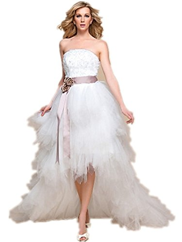 Quality Made to Measure A-line Princess Strapless Asymmetrical Tulle And Lace Wedding Dress SALE
