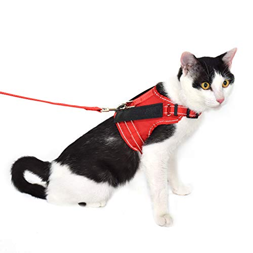 ROSCEA Cat Harness and Leash Escape Proof Soft Mesh Pet Vest with Lead for Kitten Walking (Red,Large)