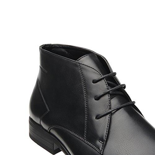 Faranzi Menns Chukka Boots Desert Korte Ankelstøvletter Uformell Kjole Støvler Klassisk Moderne Komfortabel Snøring Vanlig Toe Oxfords Ro-en-svart
