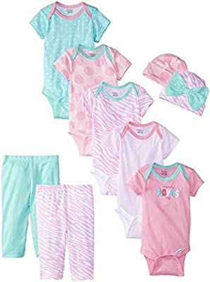 Gerber Baby-Girls Newborn Mommy Loves Me 9 Piece Bodysuits Pants and Caps Gift Set