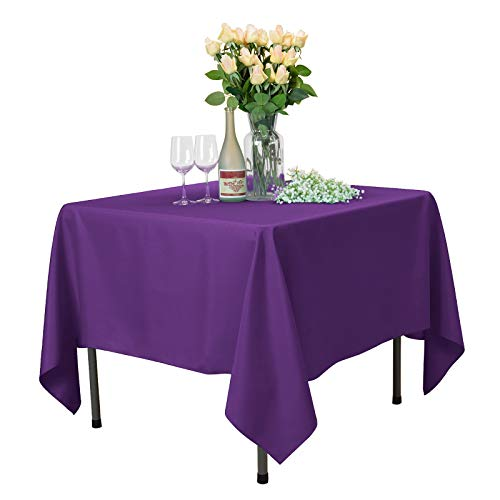VEEYOO Square Tablecloth 100% Polyester Table Cloth for Indoor and Outdoor Table - Solid Dinner Tablecloth for Wedding Party Restaurant Coffee Shop (Purple, 85x85)