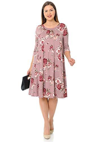 Pastel by Vivienne Women's A-Line Trapeze Midi Dress Plus Size X-Large Floral Mauve Blush