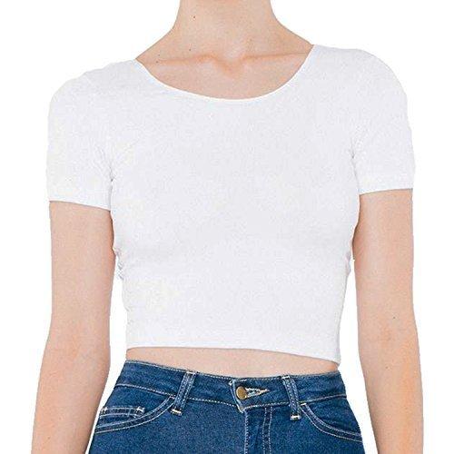 De Crop Spandex Tee Coton American Apparel Blanc Jersey 4xUnwSP