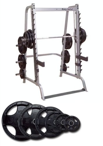 Body Solid Series 7 Smith Machine with 255 lb Rubber Olympic Set by Body Solid