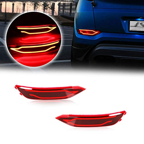 GTINTHEBOX (2 JSR Style Red LED Rear Bumper Reflectors Brake Tail Lights, Rear Fog Lamp Assemblies Kit for 2016 2017 2018 Hyundai Tucson IX35