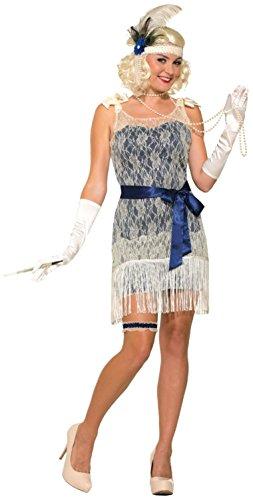 Forum Novelties Women's Gold Coast Socialite Costume, White/Blue, Standard