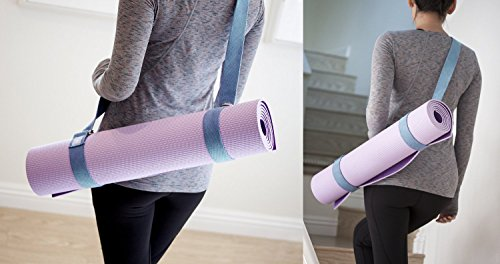 2-IN-1 Premium Lightweight Yoga Stretch Strap Belt & Mat Carrier Sling. 6 foot Long, 100% Cotton. Perfect Yoga Accessory for Women, Men, Beginners to Pros. Fits All Yoga Mats & Maintain Poses.