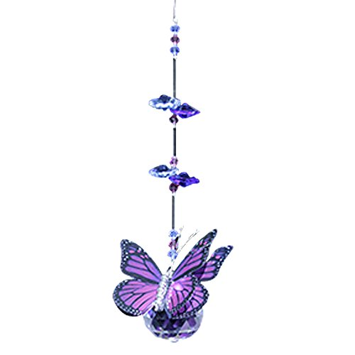 (Purple Monarch Butterfly Figurine with 30mm Crystal Ball Bead - Rainbow Maker - Crystal Suncatcher - Home, Living Room, Bedroom, Kitchen, Car Decoration - Porch Decor - Sun Catcher - Hangings Crystal Glass Ornament)