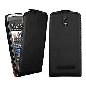 Real Leather Style HTC Desire 500 506E Magnet Flip Case Cover Included Calans Screen Protector -(Black)