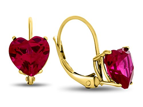- Finejewelers 7x7mm Heart Shaped Created Ruby Lever-back Drop Earrings 10 kt Yellow Gold