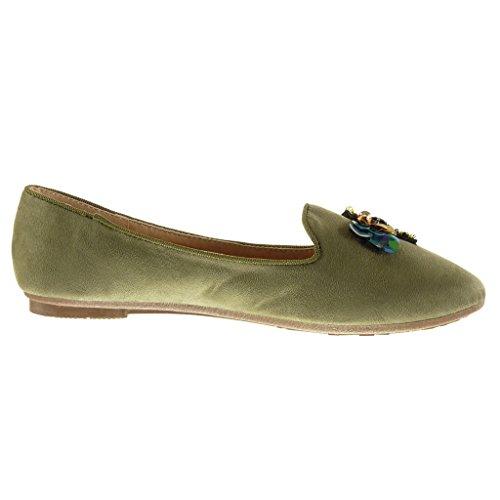 Angkorly - Chaussure Mode Mocassin slip-on femme bijoux fantaisie Talon bloc 1.5 CM - Vert