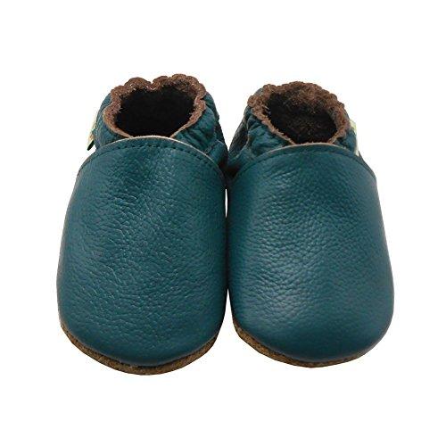 Sayoyo Lowest Best Baby Soft Sole Prewalkers Skid-resistant Baby Toddler Shoes Cowhide Shoes (0-6 months, Darkcyan)