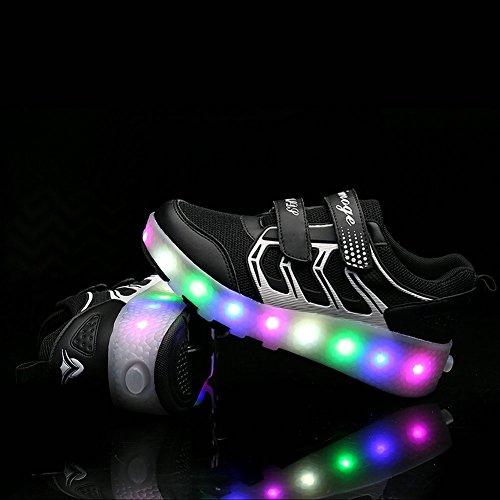 Chic Sources Jungen Mädchen leuchten Roller Schuhe mit 2 Rädern Skate Sneakers für Kinder Jugend Schwarz