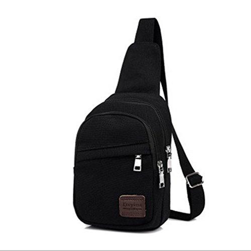 Hombre Canvas Messenger bolsa para bolsa de hombro MAN de montar Casual Retro Fashion Packet Negro
