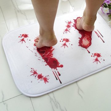 Gore Footmark Lavatory Matt - Halloween Terror Footprint Non Slip Floor Mat Bathroom Kitchen Bedroom Doormat Carpet Decor - Origin Lusterlessness Parentage Privy Ancestry Flat ()