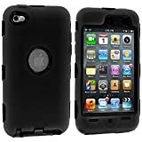 Importer520 (TM) 3-Piece Deluxe Hybrid Premium Rugged Hard Soft Case Skin Cover for Apple iPod Touch 4G, 4th Generation, 4th Gen 8GB / 32GB / 64GB - Black / Black