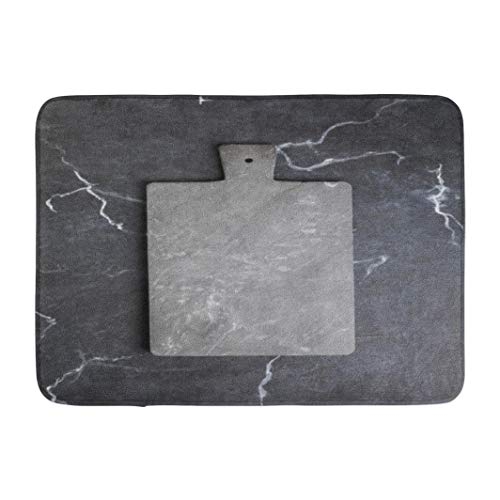 Marbles,Darkchocl Decorative Bath Mat Board Dark Black Marble Space Flat Marble Absorbent Non Slip 100% Flannel 17''L x 24''W for Bathroom Toilet Bath Tub Living - Decorative Matboard