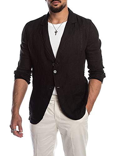 (PASLTER Mens Casual Suit Jacke Linen Top Regular-Fit Two Button Blazer Jacket Wedding Outfits with Pocket)
