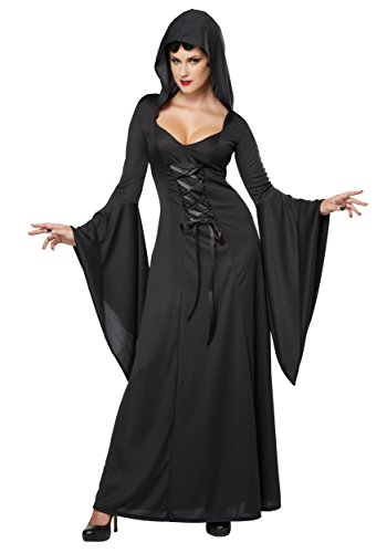 California Costumes Women's Deluxe Hooded Robe Sexy Long Dress, Black, (Witches Dresses)